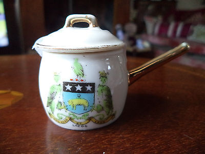 """Vintage Comm Ware Crested Saucepan & Lid For """" Leeds"""" By Gemma China"""