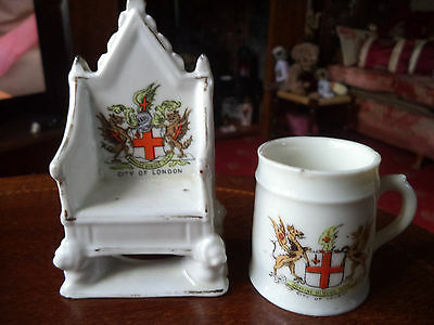 """Two Pieces Of Vintage Comm Ware For The """"city Of London"""" - Throne And A Mug"""
