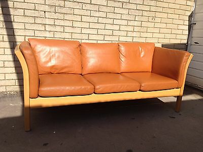 Danish Vintage Stouby style brown leather three-seater sofa
