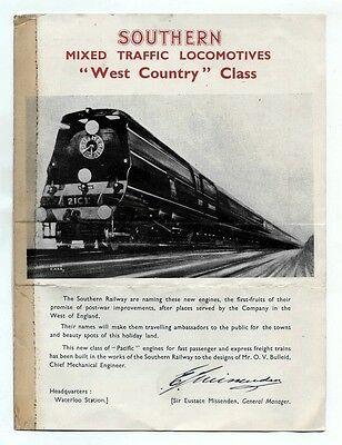 SOUTHERN MIXED TRAFFIC LOCOMOTIVES WEST COUNTRY CLASS - Leaflet
