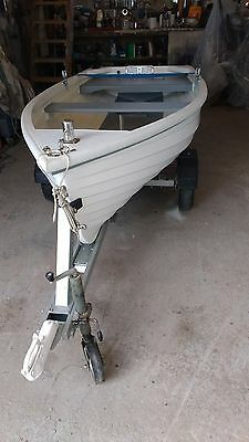 Fishing and or tender boat 8 FT GRP CLINKER STYLE VERY NICE WITH ROAD TRAILER