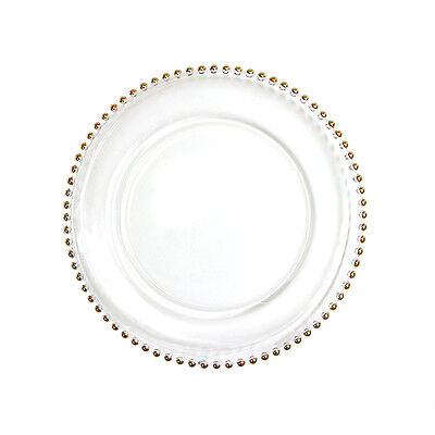 Koyal Wholesale Clear Glass Gold Beaded Couture Charger Plate, 4-pack