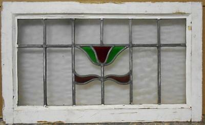 """MID SIZED OLD ENGLISH LEADED STAINED GLASS WINDOW Simple Floral 27.75"""" x 16.75"""""""