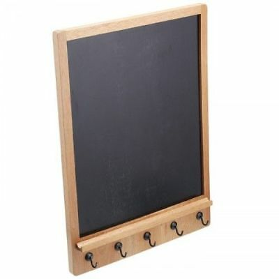Natural Elements Memo To-Do Chalk Board With 5 Key Hanger Hooks Acacia Wood