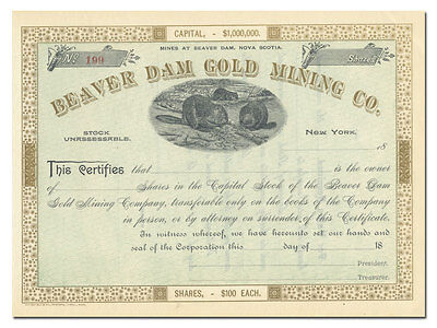 Beaver Dam Gold Mining Company Stock Certificate