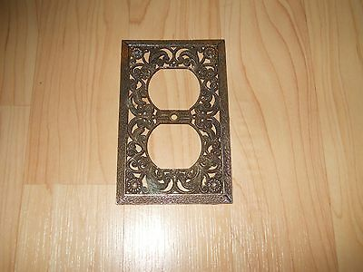 Vintage Brass Wall Socket Plate Ornate Stamped