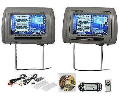 "New Rockville RDP931-GR 9"" Gray Car DVD/USB/HDMI Headrest Monitors+Video Games"