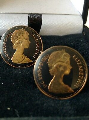 1980 Enamelled 1/2p Coin Cufflinks. Black/gold. 36th Birthday/Anniversary