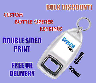 Custom Printed Keyring Personalised Logo Wedding Photo Birthday Bottle Keyrings