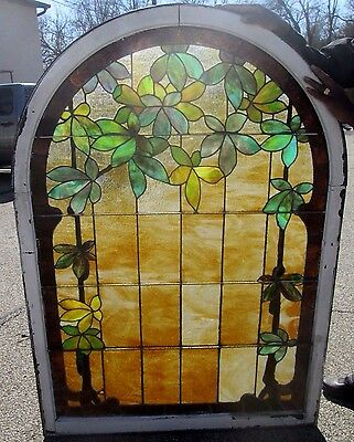 GORGEOUS LEAF & VINE LARGE 44 x 62 ANTIQUE STAINED GLASS WINDOW ESTATE # 182