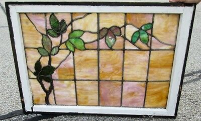 Antique Arts & Crafts Stained Glass Window W/leaves And Vines Ohio Estate # 300