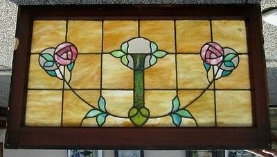 Antique Arts & Crafts Frosted & Stained Glass Window W/ Glasgow Roses  # 271