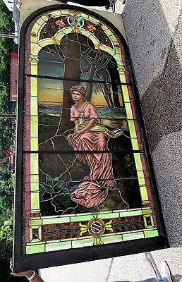 10.5' Monumental Jeweled Antique Stained Glass Portrait Window  Ny Estate # 1