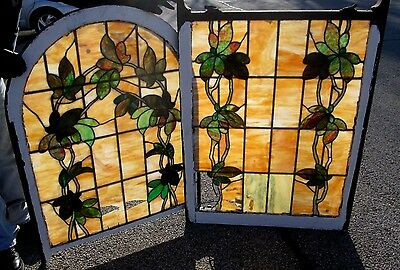 Fine Vine Design Antique Art Nouveau Double Hung Stained Glass Window  # 553
