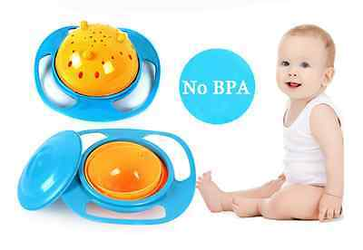 Bowl Kids Creative UFO Baby 360 Rotating Never Spill Food Dishes Handheld Plate