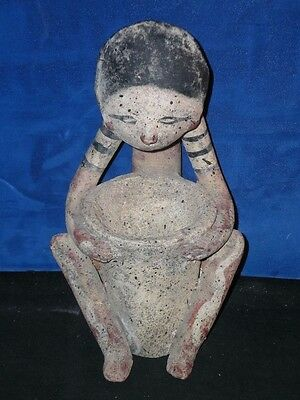 "Antique ? Vintage INCA AZTEC MAYAN Clay pottery FIGURE + BOWL 11"" STATUE Painted"