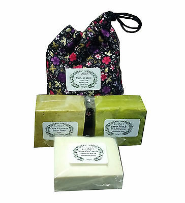 CARIA Traditional Turkish Trio 3 Handmade All Natural Castile Soap Bars 420g