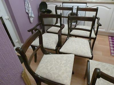 1990's REPRODUCTION REGENCY MAHOGANY BAR BACK DINING CHAIRS & EXTENDING TABLE