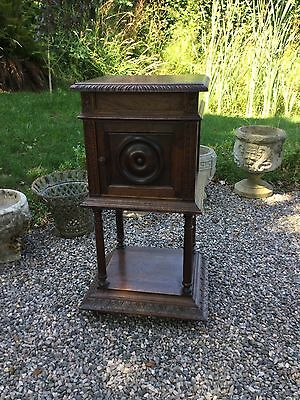 Antique Oak French Bedside Cabinet / Cupboard