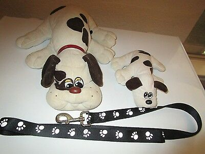 """Pound Puppies 18"""" & 9"""" With Collar & Leash 1985"""