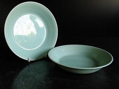 VINTAGE WOODS WARE BERYL ( GREEN ) ~ 2 x LARGE SOUP OR PASTA BOWLS ~ UTILITY