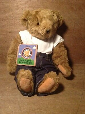 Jointed Vermont Teddy Bear NWT - Plush Stuffed Animal w Clothes & Tattoo