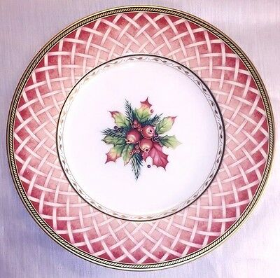 Fitz and Floyd Winter Holiday Rose Wreath Salad Plate