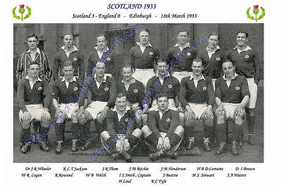 "SCOTLAND 1933 (v England) 12"" x 8"" RUGBY TEAM PHOTO PLAYERS NAMED TRIPLE CROWN"