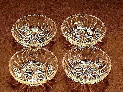 4 Antique Boston Sandwich Flint Glass New England Pineapple Honey Dishes