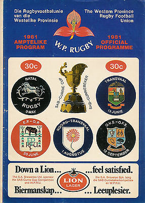 Western Province vEastern Province - Currie Cup 20 Jun 1981 RUGBY PROGRAMME