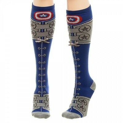 Marvel Comics Captain America Suit Lace Up Knee High Socks Adult Costume Logo