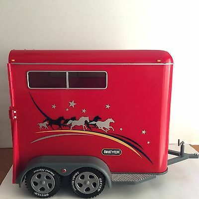 Breyer Traditional 2-Horse RED Trailer Toy Large with Ramp Hitch