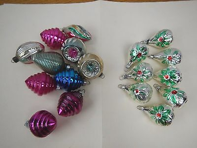 18 Vintage Christmas feather tree shapes indent flowers shiny brite ornaments