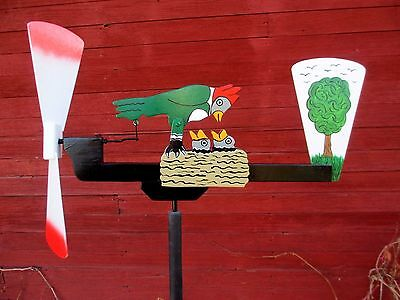 Handcrafted Whirligig Garden Decor WOODPECKER & PEEPS Outdoor Wind Spinner Patio
