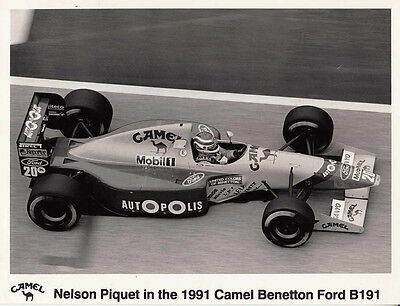 Nelson Piquet In The 1991 Camel Benetton Ford B191 Period Photograph.