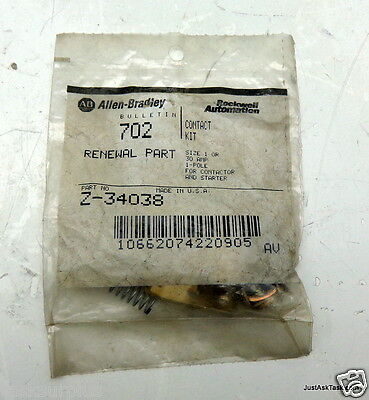 Allen-Bradley Z-34038 Contact Kit Size 1 or 30A 1 Pole For Contactor/Starter