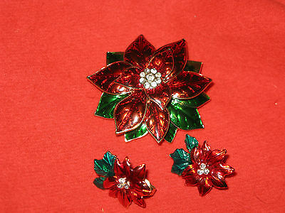 Vintage Enamel and Rhinestone Poinsettia Brooch and Clip Earrings