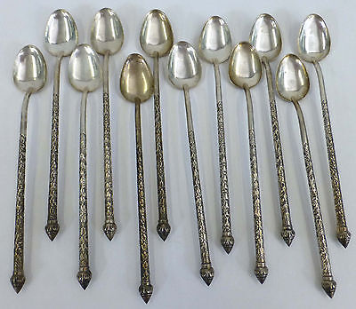 900 Silver Spoon Persian Middle East w Lotus Flower Set 12 spoons c. 1870