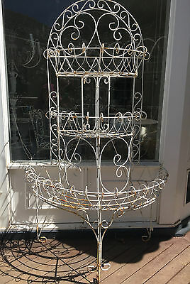 3 Tier French Hamptons White Wire Plant Patio Porch Pot Stand Vintage Antique