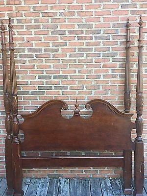 Cherry Queen Rice Carved Poster Bed - Solid Wood - Beautiful Bed, Rails Included