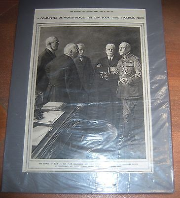 "WWI 1919 The ""Big Four"" and Marshal Foch Peace Talks Illus.London News Print"