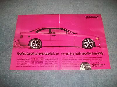 1994 BF Goodrich Tires Vintage Ad with BMW E36 325is in Pink