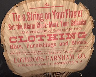 Rochester New Hampshire*lothrops=Farnham Co*early Paper & Bamboo Advertising Fan