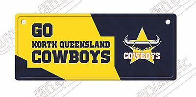 NORTH QUEENSLAND COWBOYS TIN  LICENCE  PLATE  SIGN with suction caps