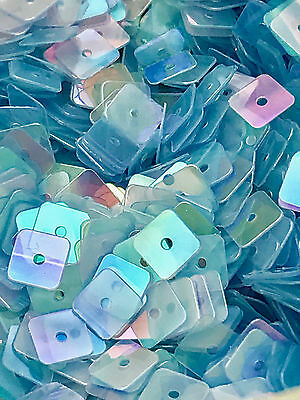 Sequins 5mm Tiny Frozen Blue Square AB Rainbow Translucent Choose Pack Size