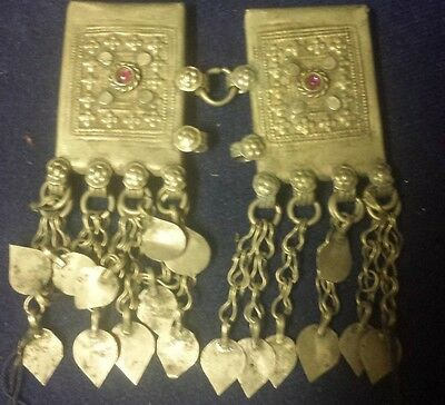 Authentic Handmade Kuchi Tribal Vintage Afghanistan Jewelry PAIR of Prayer Boxes