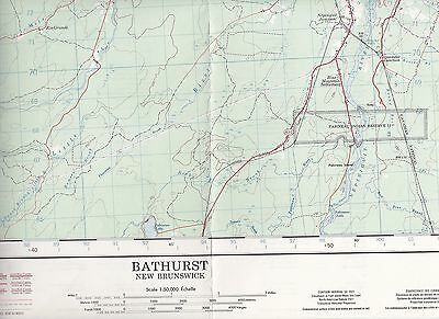 National Topographic System Maps of Canada Bathurst New Brunswick Gloucester Cty