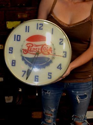 Vintage Lighted Advertising Clock DOUBLE DOT PEPSI COLA Clock