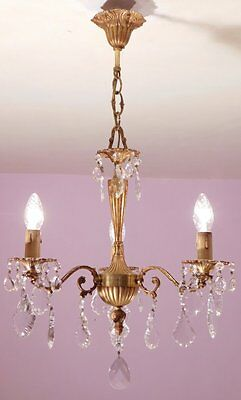 Sparkling Vintage French 3 Light Crystal and Bronze Chandelier