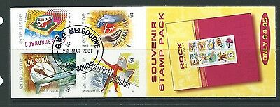 Australia 2001 Rock And Pop Music Booklet Of 10 Self Adhesive  Cto Cancelled